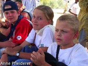 Nach der Wanderung: Fabian Klemp, Bernice und Timon